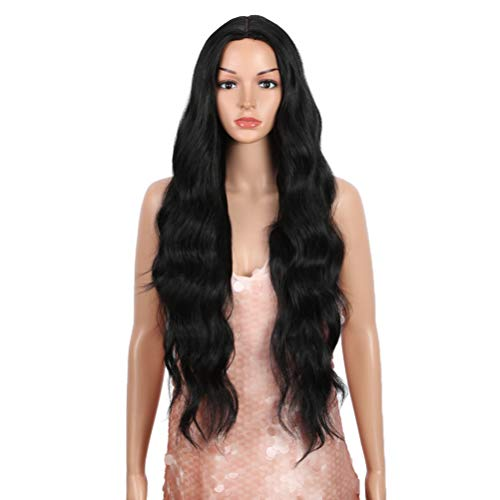 """Style Icon 30"""" Long Wavy Wig Black Wig Middle Part Synthetic Wigs with Bangs Simulated Scalp High Temperature Fiber Heat Resistant Wig (30, 1B)"""
