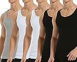 Falechay Camiseta Tirantes para Hombre Pack de 5 de Algodón 100% Camisetas Interiores Deporte más Colores Negro Blanco Gris S