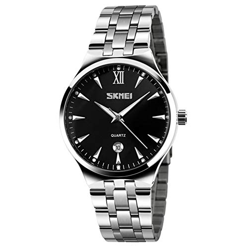 SKMEI Business Men's Brand Watch Stainless Steel Band Date Display Good Looking Luminous Pointer Quartz Wristwatch (Silver+Black)