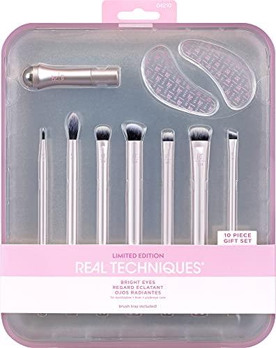 REAL TECHNIQUES Bright Eyes Lot de 10 pinceaux de maquillage Rose
