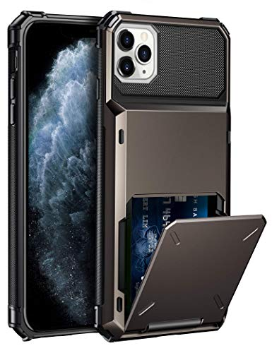 ELOVEN Case for iPhone 11 Pro Max Case Wallet with Card Holder Card Slot Hidden Credit Card ID Shock Absorption Heavy Duty Drop Protection Bumper Protective Cover for iPhone 11 Pro Max, Gun Metal