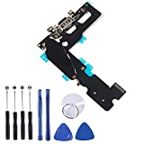 OEM USB Charging and Headphone Jack Port Dock Connector + Mic Flex Cable + Signal Antenna Replacement Compatible with iPhone 7 Plus Including 1Set Repair Tools (Black)