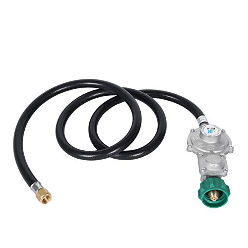 GasSaf 5FT Two Stage Propane Regulator Hose with QCC 1/Type 1 Connection and 3/8in Female for RV Appliance, Gas Generator, Gas Stove/Range More