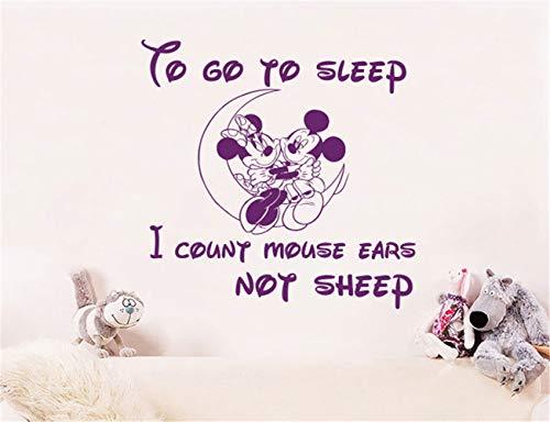 Minnie Mouse autocollant mural Mickey Minnie Mouse Sticker Decal Citation Pour aller dormir bébé Decor chambre fille garçons chambre chambre d'enfant décoration