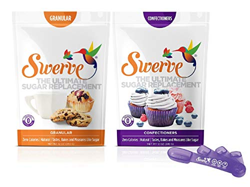 Swerve Sweetener, Bakers Bundle, 12 Ounce Granular & Confectioners + Swerve Measuring Spoons
