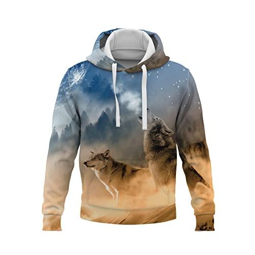 YDyun Langarm Sweatshirt mit Taschen 3D...