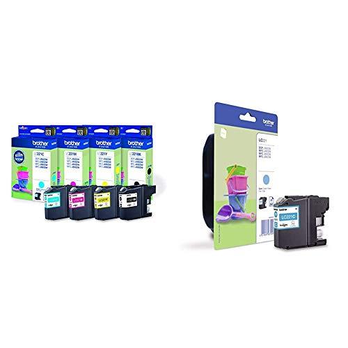 Brother LC-221 - Cartuchos de tinta para impresoras DCP J562DW, MFC J480DW, J680DW (4) + LC221CBP Cartucho de tinta cian original