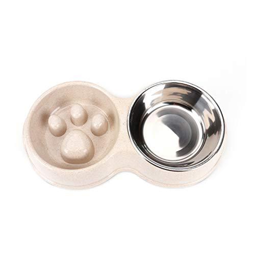 Broccoli21 Tazón de Perro Universal Bowl Anti Choking Acero Inoxidable Doble Bowl Suplementos para Mascotas para Perro y Gato Tazón de Perro (Color : Double Bowl for Slow, Size : Blue)