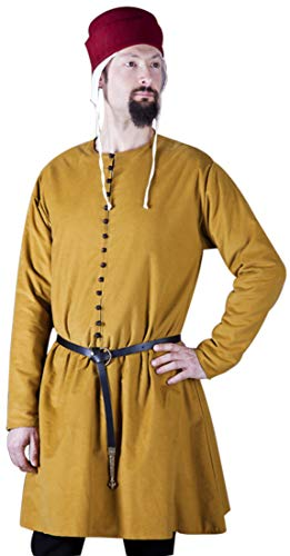 Unisex Medieval Yellow Viking,Celtic LARP Pirate Shirt Ren-fair Tunic,Surcoat Size-4XL