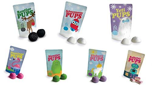 Großes Pups Set: Yetipups, Einhornpups, Flamingopups, Monsterpups, Rentierpups, Roboterpups, Schneemannpups, Marshmallows , 7 x ca. 18 gr. = ca. 126 gr.