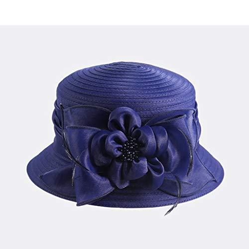 MEIEI Sonnenhut, Sommer Korkgarn Nähen Tuch Mütze, Damen Sonnenschutz Sonnenschutzkappe (Color : Dark Blue)