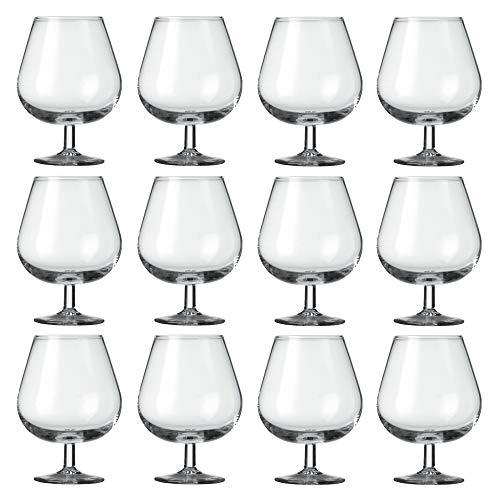 Juego de 12 copas de coñac de 540 ml, transparentes, modernas, de coñac