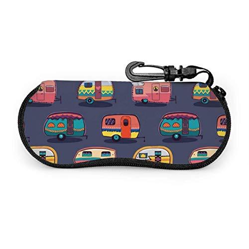 sherry-shop Étui à lunettes de soleil Happy Camper Camping Car Travel Soft Neoprene Zipper Eyeglass Bag