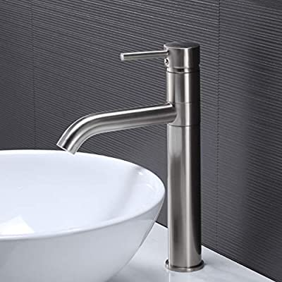 Hotis Commercial Modern Tall Body Single Handle Mixer Spout Stainless Steel Brushed Nickel Vessel Sink Faucet,Bathroom Faucets for Sink 1 Hole