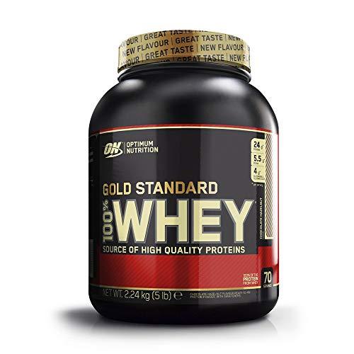 Optimum Nutrition Gold Standard 100% Whey Protéine en Poudre avec Whey Isolate, Proteines Musculation Prise de Masse, Chocolat Noisette, 70 Prtions, 2.27kg, l'Emballage Peut Varier