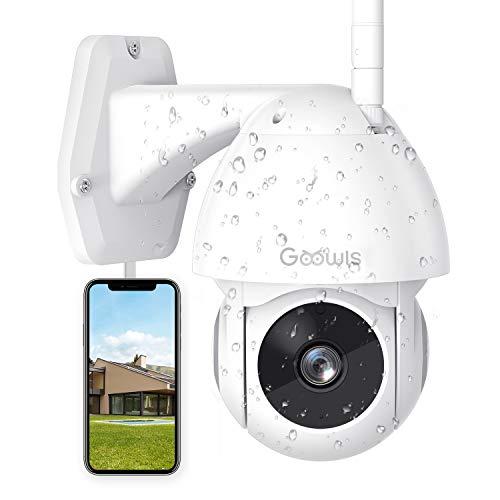 Überwachungskamera Aussen, Goowls 1080P IP Kamera Outdoor 355°Schwenken/110°Neigen Wasserdichte Sicherheitskamera mit Bewegungserkennung Zwei-Wege-Audio Nachtsicht MAX 128GB SD Card Arbeitet mit Alexa