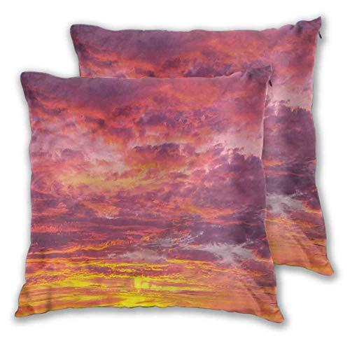 Sky Pillowcase Sofa Hug 2 PCS, Sunset Clouded Weather Cómodo y Suave para la decoración del hogar Sofá Dormitorio Coche