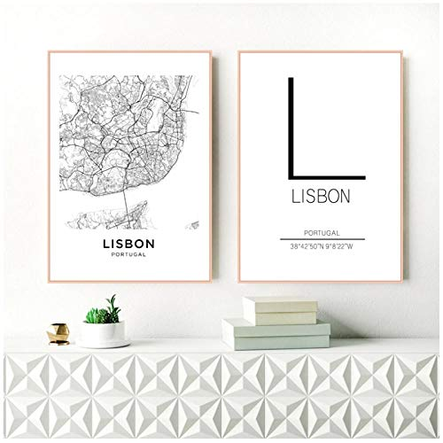 Zhaoyangeng Lissabon City Map Poster Art Decor Canvas Prints Zwart en Wit Canvas Schilderen Muur Foto's Modern Home Decor- 50X70Cmx2 Unframed
