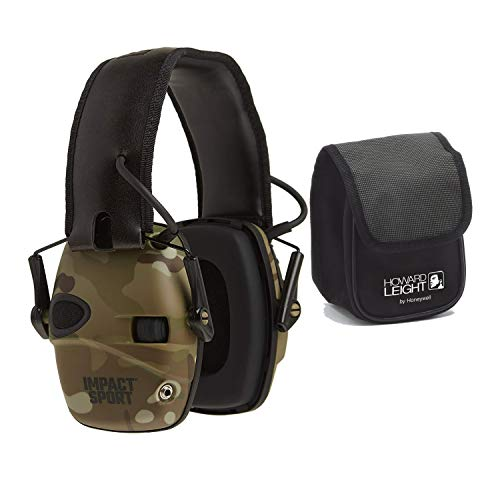 Howard Leight Impact Sport Sound Amplification Earmuff (Camo) with Earmuff Belt Case Bundle (2 Items)