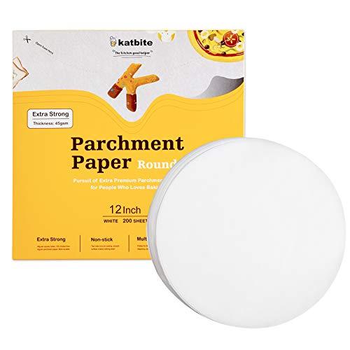 katbite Backpapier Rund 200 Stück Ø30,5 cm(12 Zoll), Fettdicht Antihaft Pergament Papier Zuschnitte für Kuchen, Pizza Backen, BBQ 15,2 cm / 17,8 cm / 20,3 cm / 25,4 cm Optionen