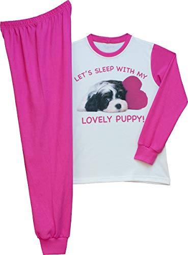 Pampress Mädchen Langarm Schlafanzug mit süßem Hunde Motiv (weiß/pink, 128-134)