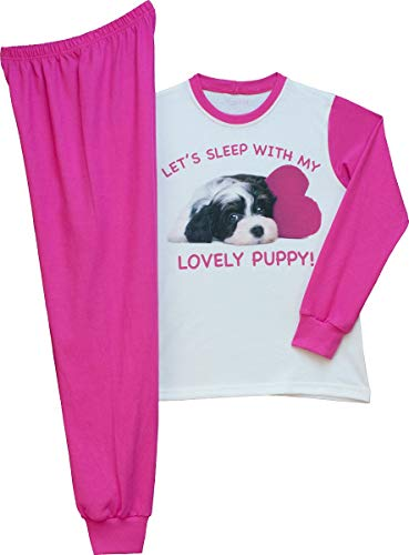 Pampress Mädchen Langarm Schlafanzug mit süßem Hunde Motiv (weiß/pink, 140-146)