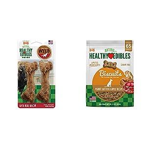 Nylabone Healthy Edibles Wild Bison Dog Treats, 2 Count, Medium: Up to 35 Lbs & Nylabone Healthy Edibles Dog Treat Biscuits Peanut Butter & Apple Bundle