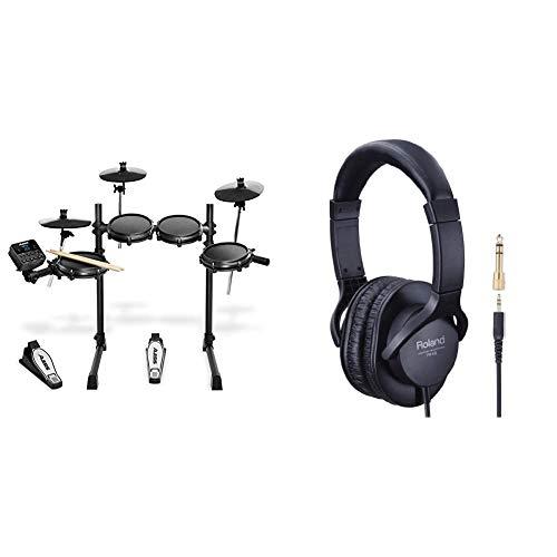 Alesis Turbo Mesh Kit - E Schlagzeug Elektronisch / 7-teiliges E Drum Set mit Mesh-Heads, Drumsticks, über 100 Sounds und 30 Play-Along-Tracks & Roland RH-5 Kopfhörer, Schwarz, 33,8 x 28,5 x 10 cm