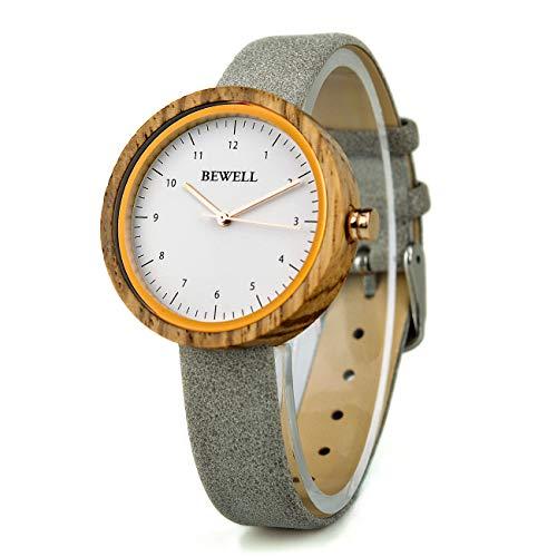 BEWELL 167AL Damen Armbanduhr Analog Display Japanisches Quarzwerk mit schmalem Lederarmband und großem Zifferblatt