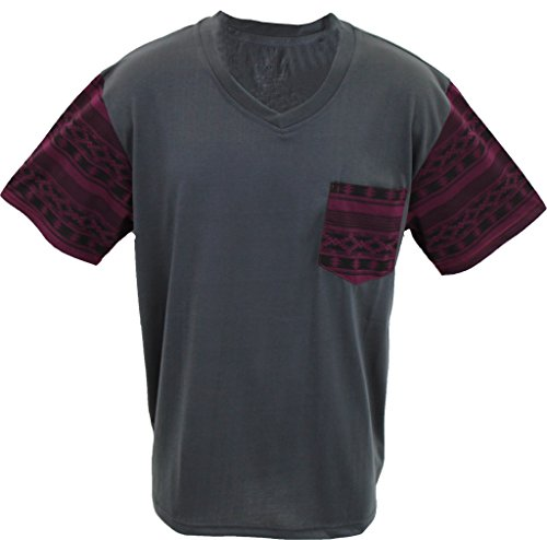 Marx & Dutch Short Sleeve Fashion Geometric Printed V-Neck T-Shirt w Pocket 125113 Charcoal L