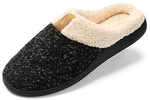 Zapatillas de Estar por casa Mujer Hombre Espuma de Memoria Invierno Interior Pantuflas Caliente Forro Ultraligero Cómodo y Antideslizante,Negro,38/39 EU(270MM)