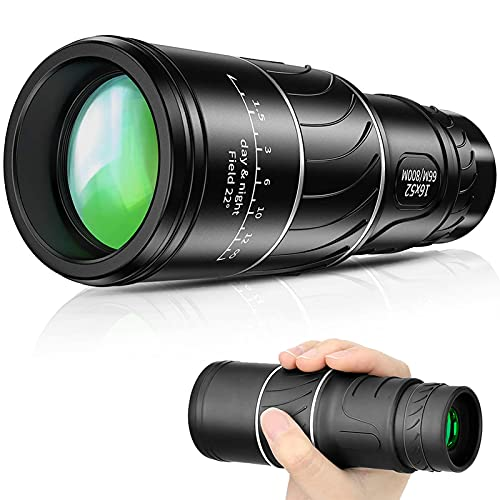 Monocular Telescope - 16x52 Monocular with Night Vision- Waterproof Monocular with Durable and Clear FMC BAK4 Prism Dual Focus for Bird Watching, Camping, Hiking and Concert