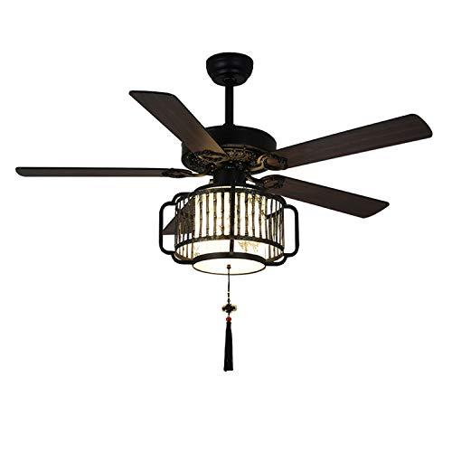 KWY Ventilador de Techo con Control Remoto con Control Remoto 42 Pulgadas Retro Fan Light 5 Blade LED Light Chandelier Silent Dimmable Moderno para Restaurante/Sala de Estar
