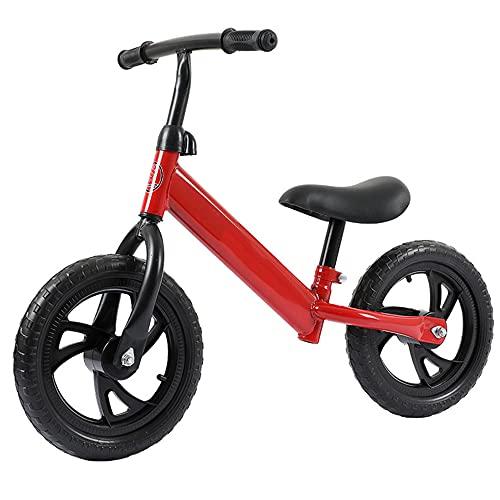 DREAMyun Bicicleta sin Pedales para niño Bicicleta sin Pedales de 2-6 años, Bici 12' Ligero, Sillín y Manubrio Regulable,Rojo