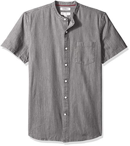 Amazon Brand - Goodthreads Men's Standard-Fit Short-Sleeve Band-Collar Denim Shirt, -washed black, X-Large
