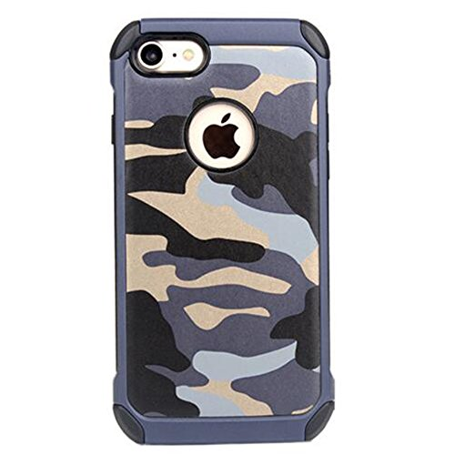 5-en-1 Funda iPhone 6Plus / 6s Plus Camuflaje,PC Dura Estuche + Tpu Suave Interno Carcasa + PU Piel + 4 Airbags + 9H Transparent Vidrio Templado,360°Totalmente Protegido Caso para Apple6/6s Plus,Azul