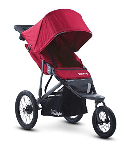 Joovy Zoom 360 Passeggino da jogging ultraleggero, capottina grande, jogger leggero, pneumatici ad aria extra large, rosso