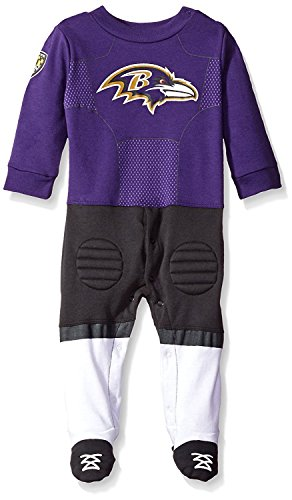 Gerber Childrenswear NFL Baltimore Ravens Boys Footed Footysuit, 6-9 Months, Gray