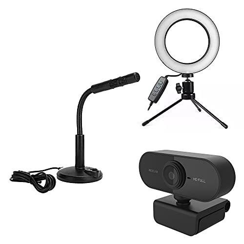 Kit Streamer Gamer Youtuber Live Ring Light 16cm + Microfone USB + WebCam 1080p Streaming Podcast