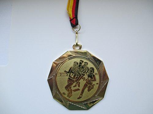 Fanshop Lünen Medaillen - Medaille - Größe Stahl 70mm - mit Emblem 50mm - (Gold) - Laufen - Lauf - Volkslauf - mit Medaillen-Band - (e103) -
