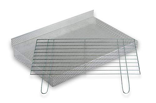 BitWa, griglia per barbecue da 4 mm e griglia a carbonella 80 x 40 cm in set camino