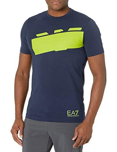 Emporio Armani EA7 T-Shirt Uomo Blu Logo sul Davanti Giallo Fluo Taglia S (54 XXL IT Uomo)