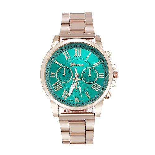 familizo Lujo Elegante Romano Número dial de cuarzo banda de acero inoxidable reloj de pulsera verde