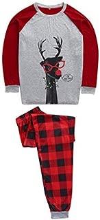 Family Matching Cute Santa Deer Printed Top Blouse+Plaid Pants Long Sleeve