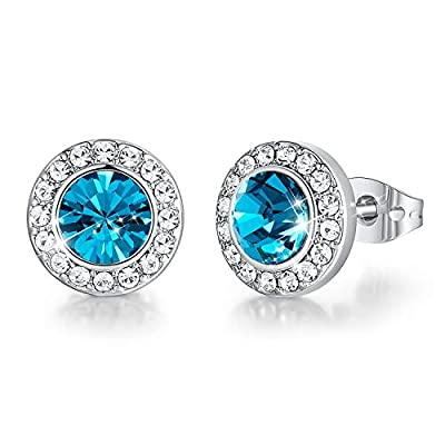 CDE December Birthstone Studs for Girls Peacock Blue Stud Earrings 18K White Gold Plated Embellished with Crystals Jewelry for Special-Occasion Birthday Valentine's Jewelry Gift for Mom