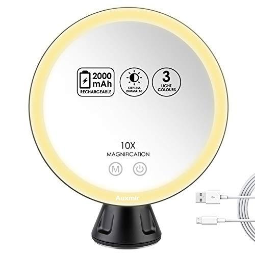 Auxmir Espejo Maquillaje con Luz LED 10X Aumento Espejo Cosmético Iluminoso con Ventosa, 360 Rotación, 3 Luces Ajustables Brillo Regulable Recargable Portátil, para Afeitado Maquillaje, Negro