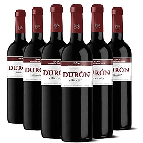 Durón – Vino Tinto Crianza 2017 Denominación de Origen Calificada Rioja, Variedad Tempranillo, 12 meses en barrica – Caja de 6 botellas x 750 ml – Total: 4500 ml