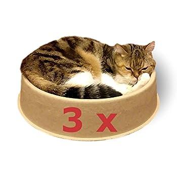 KittyDoo Chat Lit ComfyCat Lot de 3 - Chat Bol rond, confortable, bonne santé, anti-rayures en papel