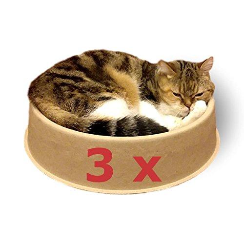 KittyDoo ComfyCat Katzenbett - Runde, Bequeme, Stabile Katzenschale aus Kratzfester und Hygienischer Pappe/Papier, Recyclebares Katzen Bettchen, Idealer Schlafplatz für Deine Katze (3er Pack)