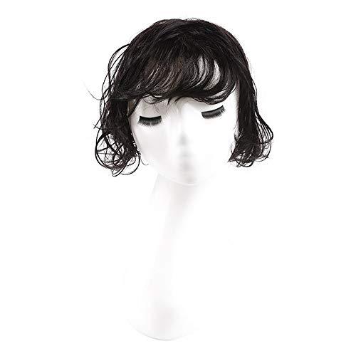 Souple Fashian Véritable Cheveux Cheveux Bloc De Remplacement Top Invisible Court Cheveux Bouclés Pour Les Femmes Moelleux Perruque Pièce fashion (Couleur : [12x12] curly hair 15cm black)